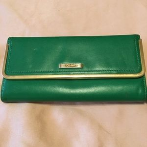 Cole Haan green leather continental wallet